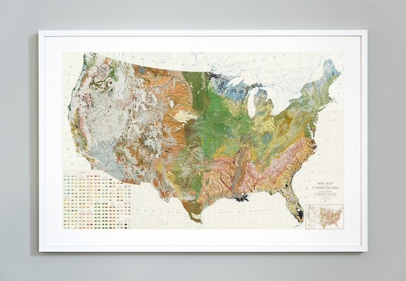 Soil Map Of The United States Atlas Of American Agriculture Etsy