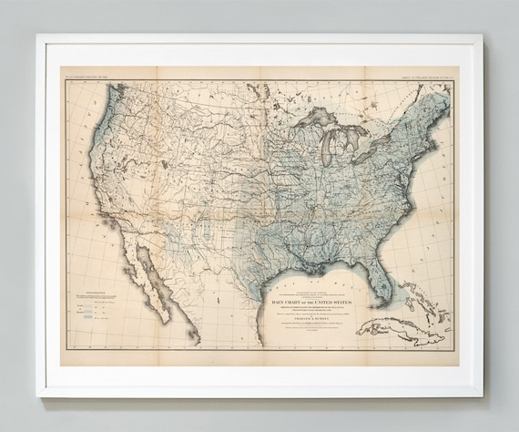 Rain Chart of the United States Map Print, U.S. Weather Map, John Wesley  Powell, Giclee Map Print, Museum Quality, Educational Chart