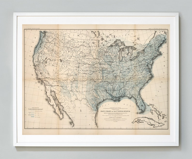 Rain Chart of the United States Map Print U.S. Weather Map | Etsy