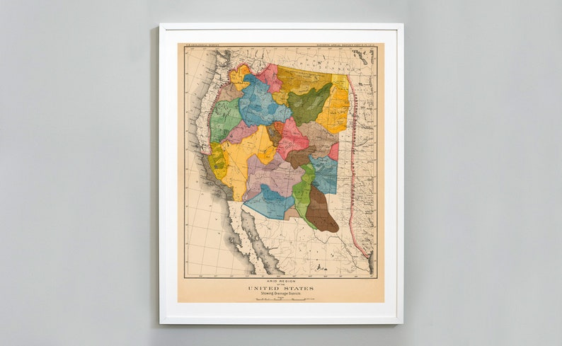 29eb2a513a343 Watershed Map of the Arid Regions of Western US Print John | Etsy