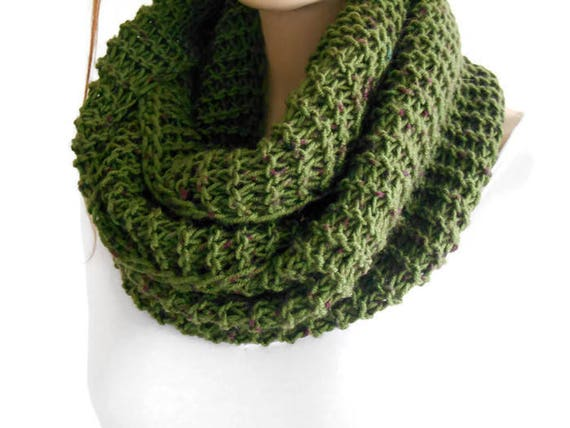 Green Men Knit Scarf Crochet Men Scarf Men Infinity Scarf Etsy