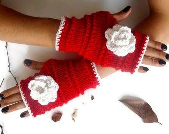 Red Fingerless Gloves, Women Fingerless Gloves, Knitted Fingerless Gloves, Handmade Gloves, Fingerless mittens, wrist warmers, Hand warmers