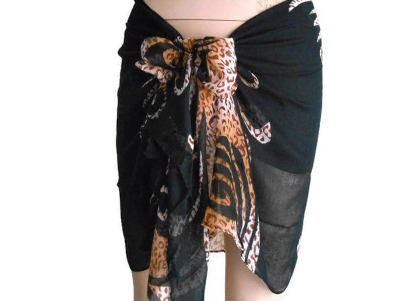 326e7df734 Black Sarong beach Wrap Pareo Summer Scarf Leopard Sarong | Etsy