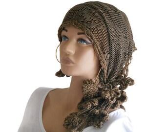 Brown Crochet head band, Boho Head band, Brown Bohemian head scarf, lace scarf, Turban head scarf, Head shawl, Women Scarf, Unique Scarf