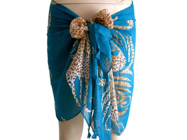 5dba16fe8201c Teal Sarong swimwear wrap Pareo Panther Print Scarf Tiger | Etsy