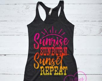 4e4ff9e099 Sunrise Sunburn Sunset Repeat Shirt, Country Music Shirt, Sunshine and  Whiskey Tank Top, Summer Country Top, Country Music Festival Top