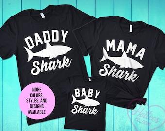 98f613a51 Mama Shark Daddy Shark and Baby Shark Shirts, Matching Family Shark T-Shirts,  Shark Shirt, Shark Birthday Party, Mom and Dad Matching Tees