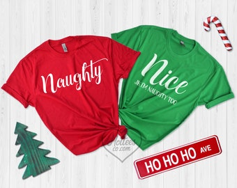 naughty or nice best friends matching shirts christmas matching sweaters couples matching holiday shirts best friend gift