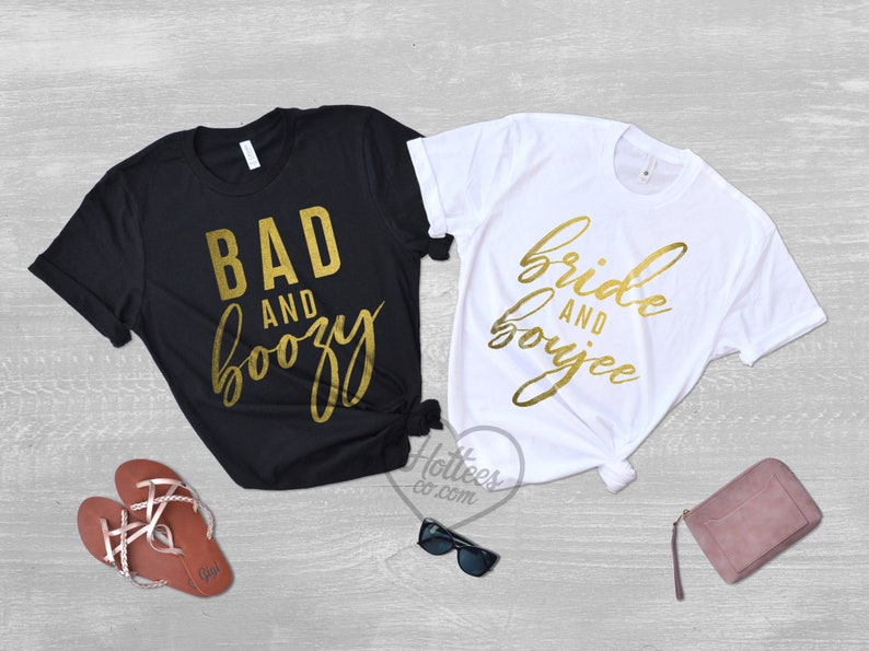 597a15683ae9b Bride and Boujee Bad and Boozy Bachelorette Party Shirts, Bad and Boujee  Bachelorette Shirts, Bride Shirt, Bridesmaid Shirts, Wedding Tees