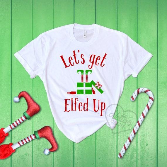Let/'s Get Elfed Up Sweatshirt Drinking Beer Christmas Xmas Elf Ugly Sweater
