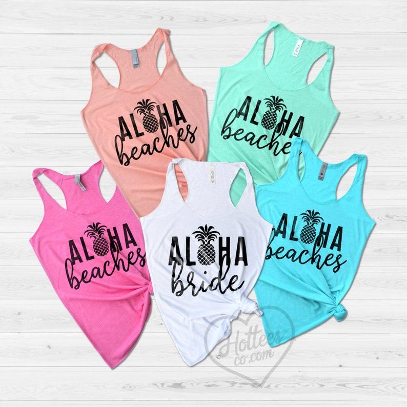 dbcb3a481f Aloha Beaches Tank Top Hawaii Bachelorette Party Shirts | Etsy