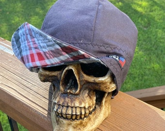 FLANNEL- Mountaineer - charcoal Gray with cream red and gray plaid - Flannel lined 100% Cotton Welding Cap - Reversible