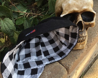 FLANNEL - Black with white and black Buffalo Plaid Flannel lined 100% Cotton Welding Cap - Reversible