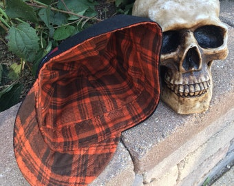 FLANNEL- Pumpkin Head - Black with orange and black Plaid Flannel lined 100% Cotton Welding Cap - Reversible