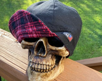 FLANNEL - Redwoods - black with black and red Plaid- Flannel lined 100% Cotton Welding Cap - Reversible