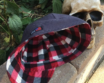 FLANNEL - Charcoal gray with red, white and black Buffalo Plaid Flannel lined 100% Cotton Welding Cap - Reversible