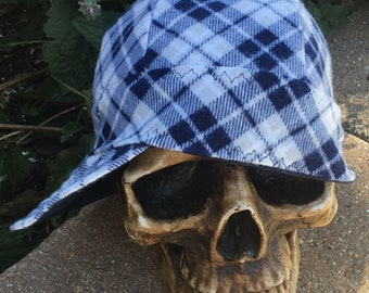FLANNEL- The Dunham- Navy with blue and white Plaid Flannel lined 100% Cotton Welding Cap - Reversible