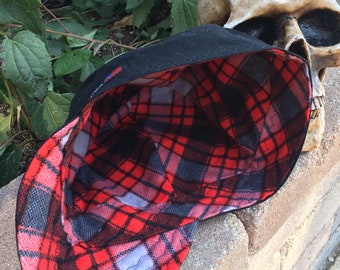 FLANNEL- Candy Apple - Light gray with red and black Plaid Flannel lined 100% Cotton Welding Cap - Reversible