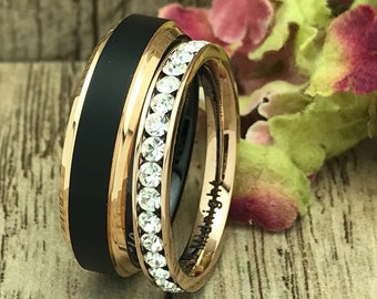 6mm/3mm Tungsten & Titanium Wedding Ring, His and Hers  Eternity Wedding Ring, Personalized Engrave Promise Ring,Couples Ring Sets IHWTCR622