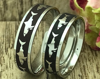 Shark Ring, His and Hers Stainless Steel Rings, Personalize Engrave Shark Ring, Black Wedding Ring, Couples Ring Set,Pipe Cut Rings,6mm Ring