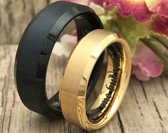 8mm/6mm His and Hers Tungsten Ring, Personalize Engrave Black and Gold Tungsten Ring, Black Wedding Ring, Gold Ring, Couples Ring Set