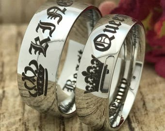 e4e6385dc3 8mm/6mm King & Queen Rings, Crown Rings, Stainless Steel Wedding Rings, His  and Hers Personalize Engrave Couples Ring, Classic Dome Rings