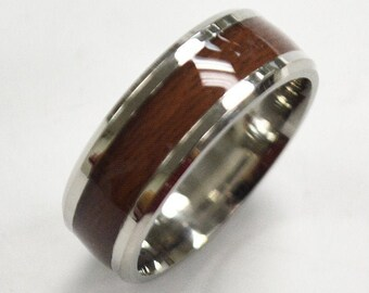 8mm Wood Stainless Steel Wood Ring, Personalized Stainless Steel Wedding Ring with Laminated Wood Inlay, Wedding Ring for Him and Her