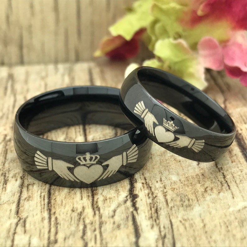 292067545b826 8mm/6mm Claddagh King & Queen Rings, Crown Rings, His and Hers Personalize  Engrave Couples Ring, Stainless Steel Wedding Band