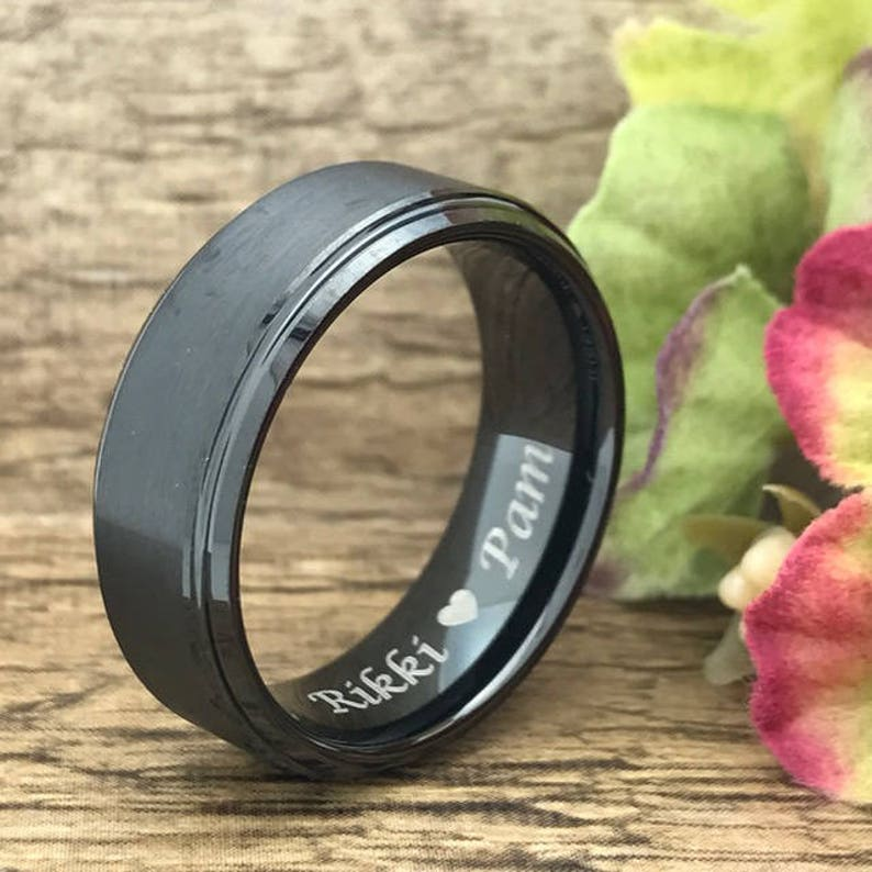 Personalized Engrave Black Plated Cobalt Ring Black Wedding Band Cobalt Wedding Ring 6mm Black Cobalt Chrome Ring