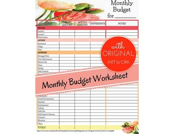 printable monthly expense log monthly expenses expense etsy