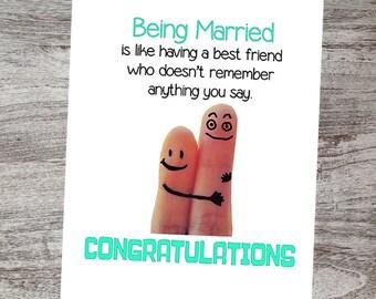 Funny Wedding Congratulations Card Wedding Greeting Card Etsy