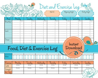 Weight Loss Journal | Food Diet Exercise Log, diet log, food tracker, weight loss diary, calorie counter, exercise tracker