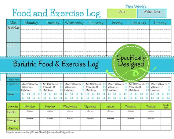 bariatric surgery weekly food exercise tracker weigh loss etsy