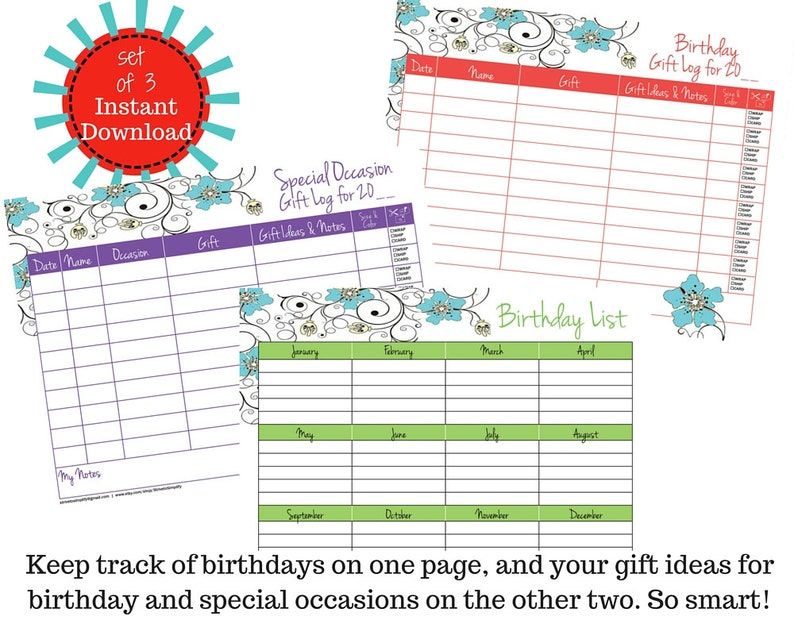 Set Of 3 Birthday List Gift Log Special Occasion
