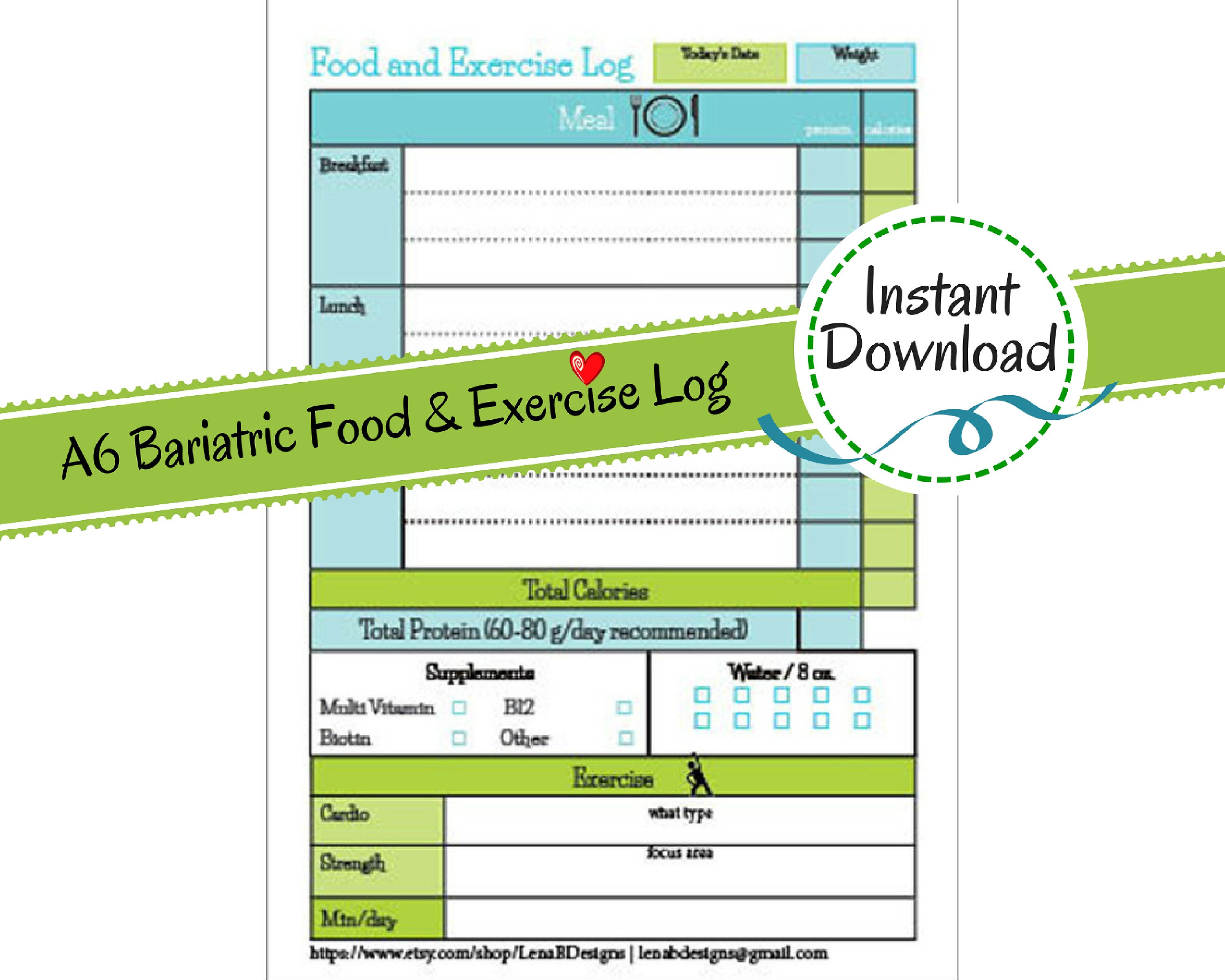 a6 printable planner page bariatric surgery daily food etsy