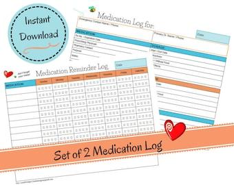 Set of 2 Medication Logs - Weekly Medication Reminder Log - Medication Journal - Medicine Tracker - Meds Dosage Planner - Instant Download