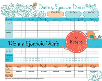 Weight Loss Journal en Espanol | Food Diet Exercise Log in Spanish, diet log, food tracker, weight loss diary, calorie counter, tracker