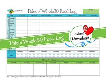 Paleo/Whole30 Food Log - Whole30 Diet Plan - W30 Diet - Paleo Diet Plan - Weight Loss Journal - Food Log -Weight Loss Diary-Instant Download