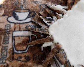 Hand Tied Fleece Blanket for Coffee Lovers