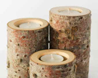 Wood Candle Holders - Set of 3, Home Decor, Wedding Decor, Rustic, Woodland, Reclaimed Wood, Fir Wood Candle Holders