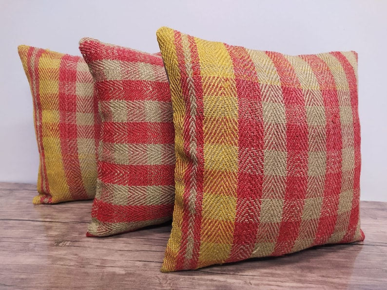 16x16 set of 3 anatolion pillow cover kelim rug handmade square turkish hand woven wool rug Cushion Cover Handwoven Floor Throw Pillow Case
