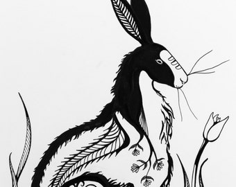 Hare letterpress print