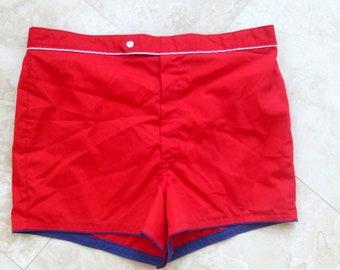 Vintage 1960s Mens  Swimming Trunks Towncraft Mens Bathing SuIt Retro Red Shorts Large 36-38 Metal Talon Front Zipper