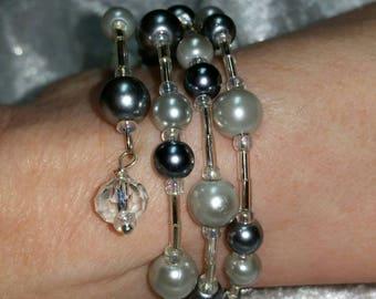 Sleek silver, gray and cream Pearl wrap memory wire bracelet