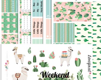 Alpaca planner sticker kit|| happy planner sticker kit, cactus stickers, stickers for use with ERIN CONDREN LIFEPLANNER™ , Sk002