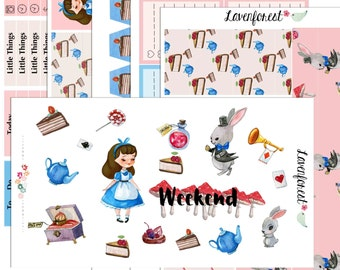 Alice in wonderland planner stickers,  planner sticker kit for use with Happy Planner, happy planner stickers,  SK025