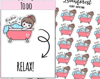 Bath Planner Stickers, Bathtub stickers, bath time stickers, bubble bath/chore/night stickers,  relax stickers, me time stickers, CL007