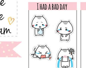 I had a bad day planner sticker, planner sticker crying, cry sticker, emoji planner sticker, kitty sticker, cute, hand drawn planner, MM011