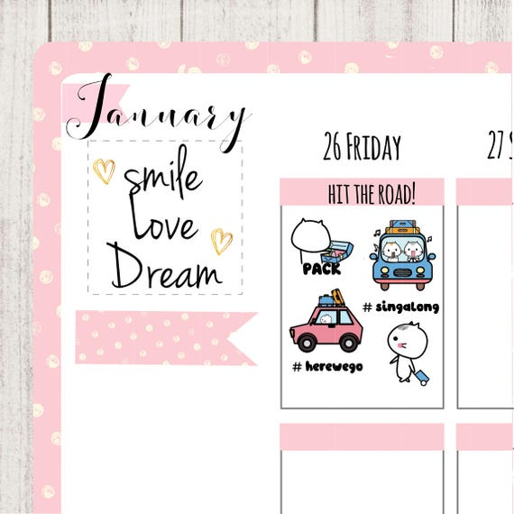 road trip planner stickers travel stickers weekenddrivingcaron the roadtourvacationcute stickers happy planner sticker mm014 from lavenforest on