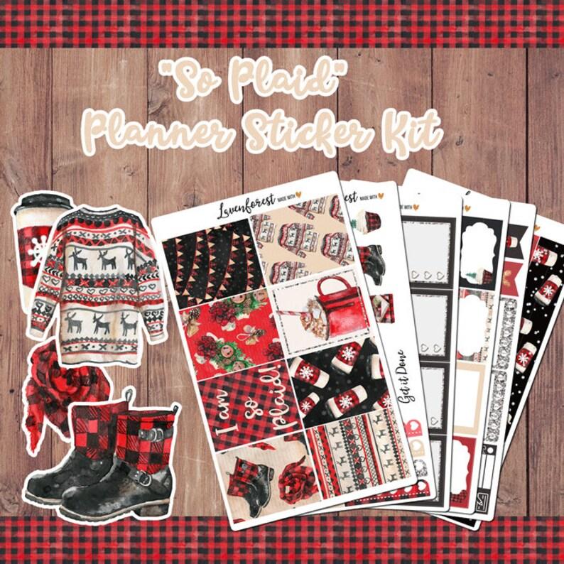 Buffalo plaid weekly sticker kitSticker kit for Erin Condren PlannerHappy Planner StickersPlanner stickerschristmasSK033